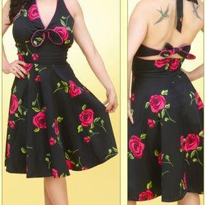 Voodoo Vixen Rose Print Hatler Dress NWT Pinup